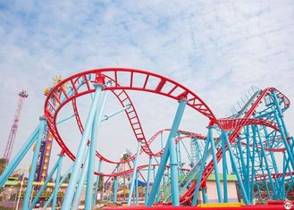 Customized Roller Coaster Thrill Rides , Steel Frame Kiddie Loop Roller Coaster